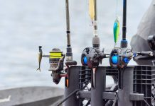 3 rods and reels all lined up