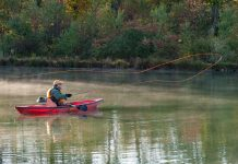 Fly fishing from a canoe
