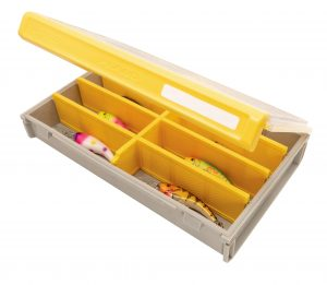 Case with dividers with lures in each compartment