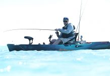 Man fishing on sit-on-top kayak