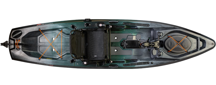 Overhead view of green and black sit-on-top 12-foot fishing kayak