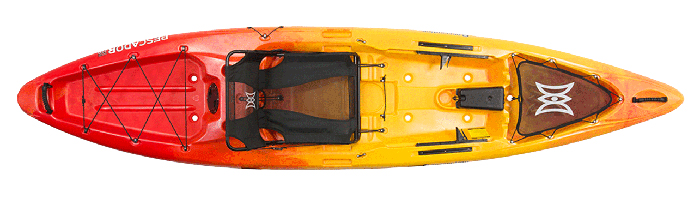 Overhead view of yellow and orange sit-on-top 12-foot fishing kayak
