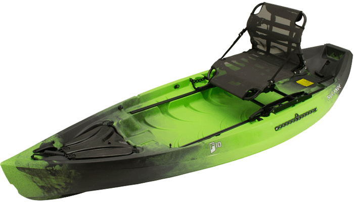 Side view of green and black sit-on-top 10-foot fishing kayak