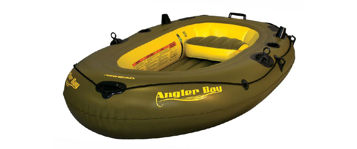 Side view of green and yellow inflatable boat