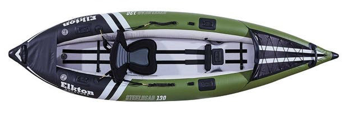 Overhead view of green, blue and white inflatable fishing kayak