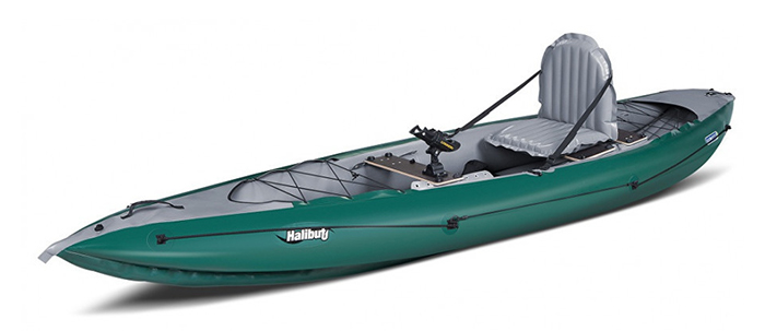 Side view of green inflatable fishing kayak