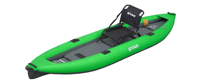 Side view of green and grey inflatable fishing kayak