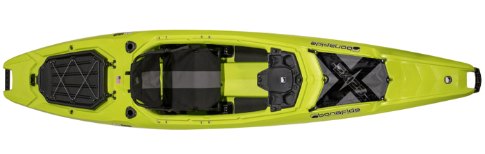 Overhead view of green sit-inside fishing kayak