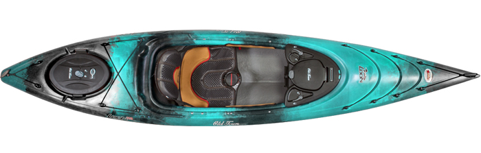 Overhead view of green and black sit-inside fishing kayak