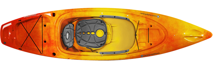 Overhead shot of orange and yellow sit-inside fishing kayak