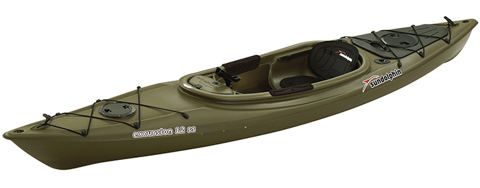 Side view of dark green sit-inside fishing kayak