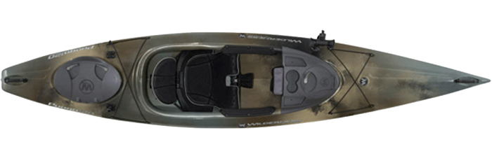 Overhead shot of dark green sit-inside fishing kayak