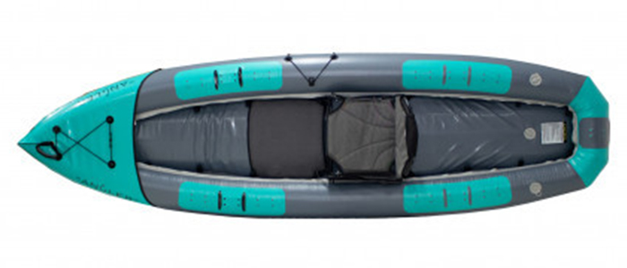 Overhead view of green and grey, inflatable sit-on-top fishing kayak