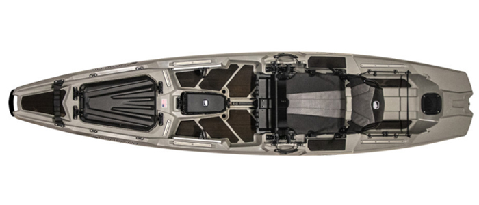 Overhead view of grey sit-on-top fishing kayaks
