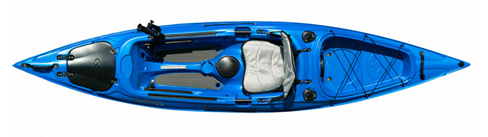 Overhead view of blue sit-on-top fishing kayak
