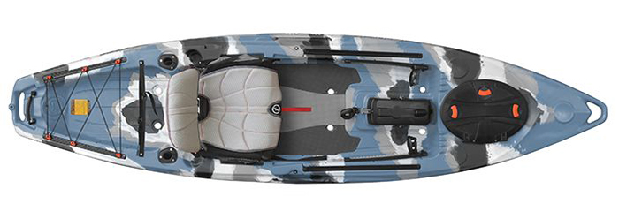 Overhead view of blue and grey camo sit-on-top fishing kayak