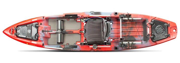 Overhead view of red sit-on-top fishing kayak.