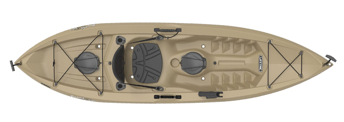 Overhead view of beige sit-on-top fishing kayak