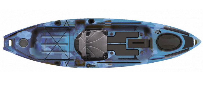 Overhead view of blue sit-on-top fishing kayaks