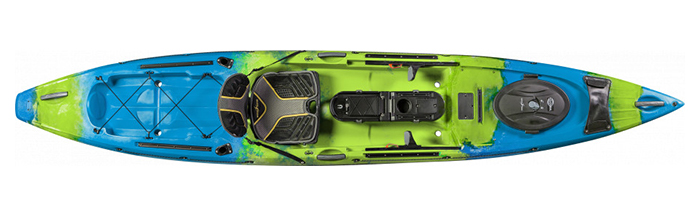 Overhead view of green and blue sit-on-top fishing kayak