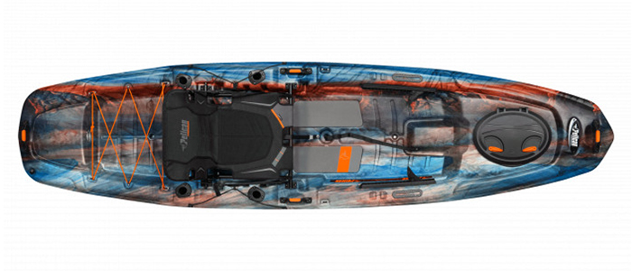 Overhead view of orange and blue sit-on-top fishing kayak