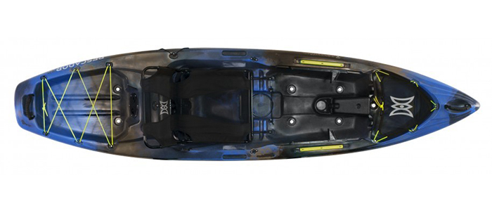 Overhead view of blue and black sit-on-top fishing kayaks