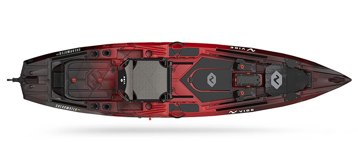Overhead view of red and black sit-on-top fishing kayak