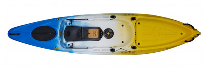 Overhead view of blue, white and yellow sit-on-top fishing kayaks