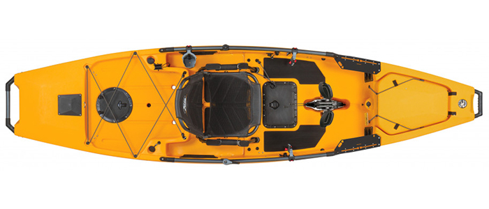 Overhead view of yellow sit-on-top fishing kayaks