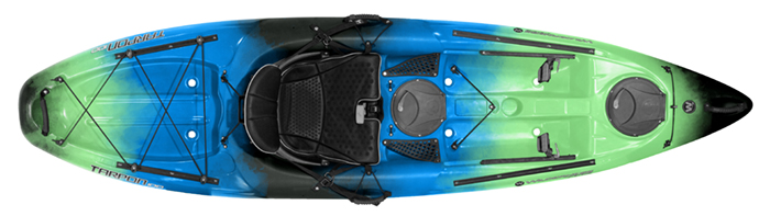 Overhead view of green and blue sit-on-top 10-foot fishing kayak