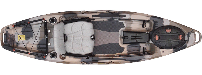 Overhead view of grey camouflage sit-on-top 10-foot fishing kayak
