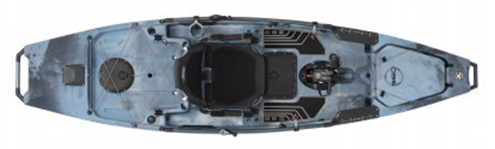 Overhead view of blue sit-on-top fishing kayak with pedals