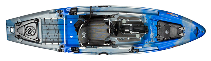 Overhead view of blue and grey sit-on-top fishing kayak with pedals