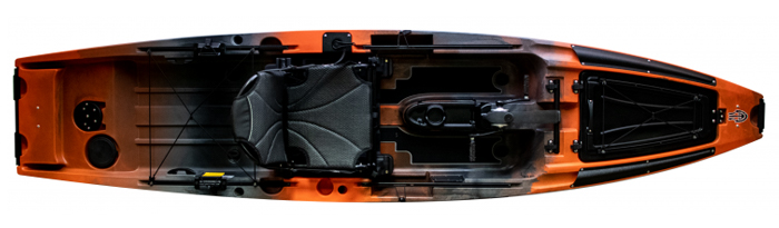 Overhead view of orange and black sit-on-top fishing kayak with pedals