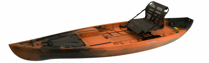 Side view of orange and black sit-on-top fishing kayak with pedals