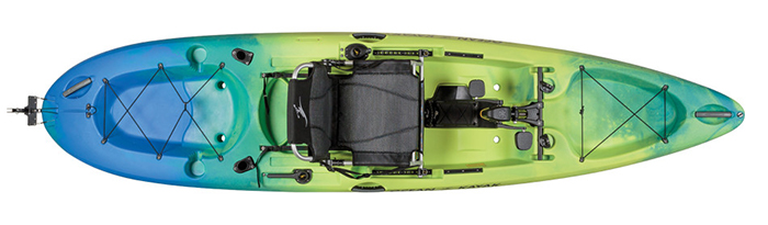 Overhead view of green and blue sit-on-top fishing kayak with pedals