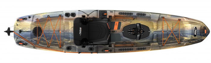 Overhead view of blue and yellow sit-on-top fishing kayak with pedals