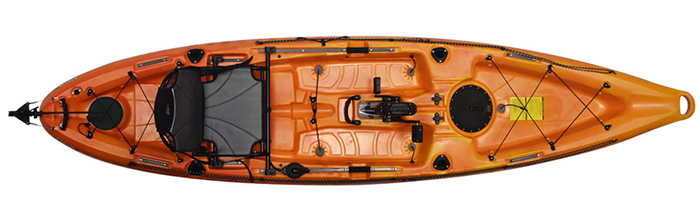 Overhead view of orange sit-on-top fishing kayak with pedals
