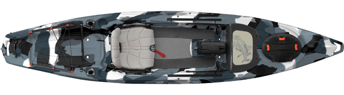 Overhead view of grey camo sit-on-top fly fishing kayak
