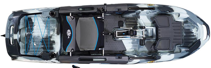 Overhead view of grey and white sit-on-top ocean fishing kayak