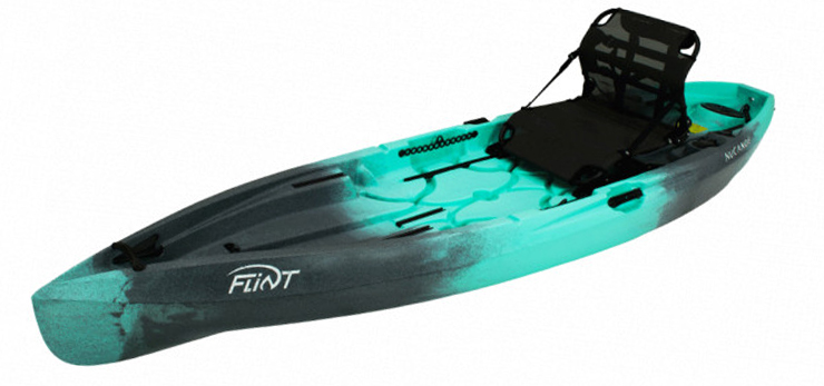 Side view of turquoise and black sit-on-top ocean fishing kayak