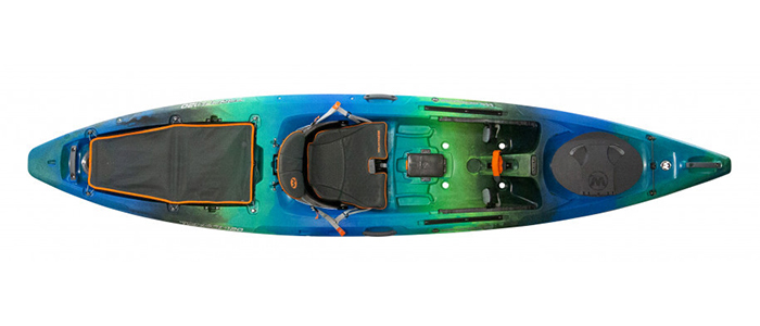 Overhead view of blue and green sit-on-top ocean fishing kayak