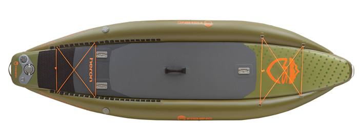 Overhead view of green inflatable fishing paddleboard