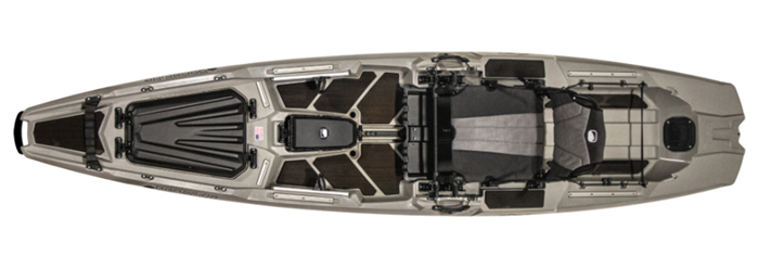 Overhead view of gray beginner fishing kayak