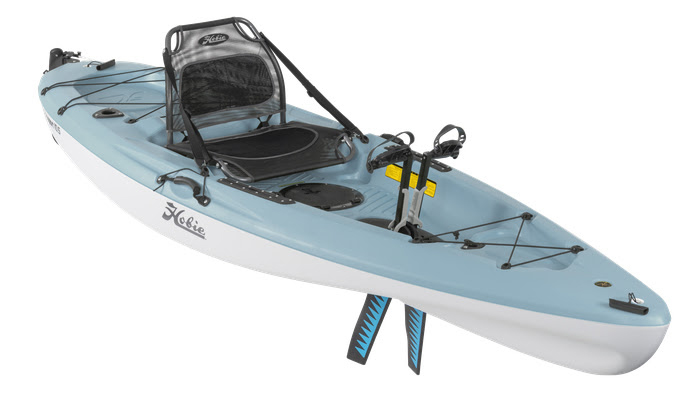 Side view of blue sit-on-top beginner fishing kayak