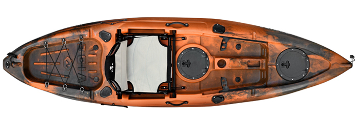 Overhead view of orange and black beginner fishing kayak