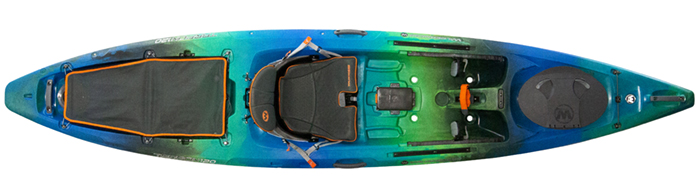 Overhead view of blue and green sit-on-top beginner fishing kayak